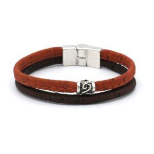 productfoto uit de webshop van een heren armband gemaakt van twee soorten kurk