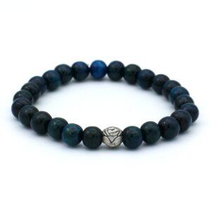 Donkerblauwe heren armband te koop in de webshop en beschikbaar in verschillende maten alhoewel de elastiek er voor zorgt dat bijna iedereen de armband wel past