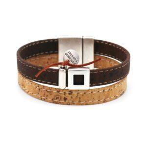 productfoto uit de webshop van een heren armband gemaakt van kurk en inclusief een zilveren munt