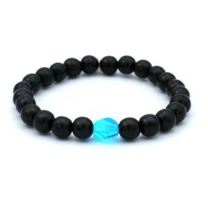 zwarte heren armband die je kunt kopen in onze webshop ook beschikbaar in andere polsmaten en in andere kleuren