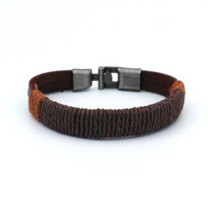 product foto uit de webshop van een heren armband gemaakt van een combinatie van leer en touw