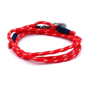 achterkant van een rode anker armband gemaakt van stevig touw
