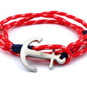 voorkant van rode anker armband gemaakt van stevig touw